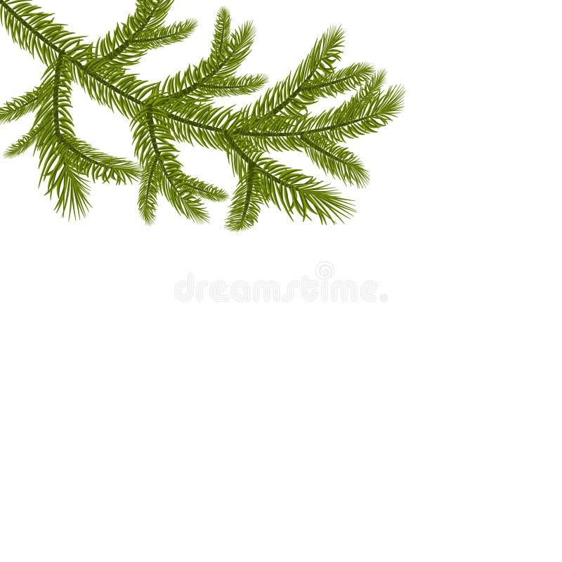 Símbolo del Año Nuevo Una rama enorme verde de la picea stock de ilustración