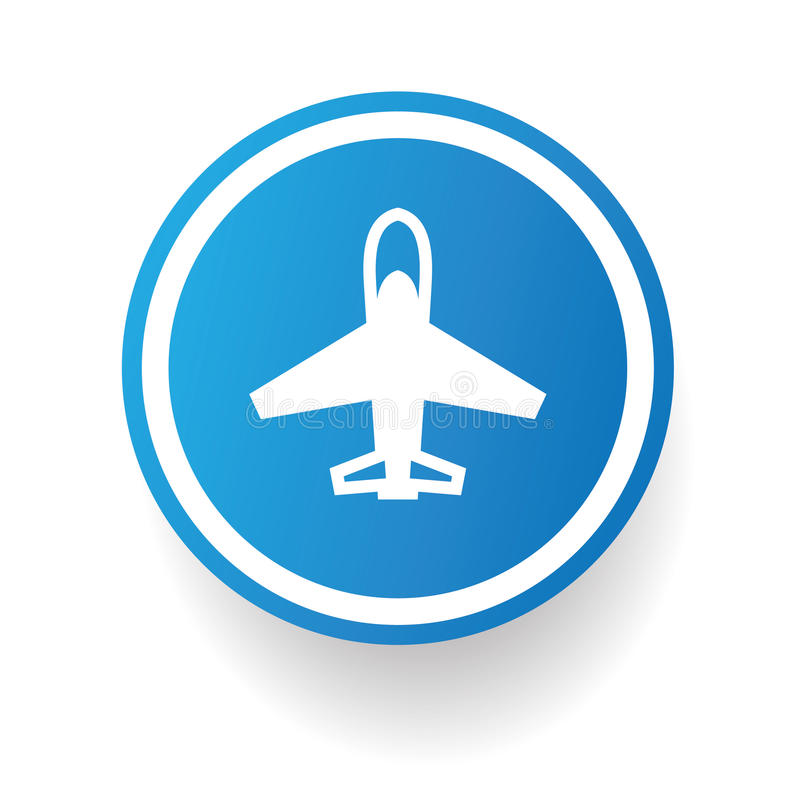 Símbolo del aeroplano, botón azul stock de ilustración