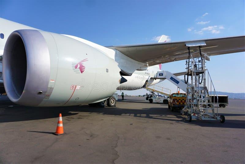 Símbolo del aire de Qatar del oryx pintado en el lado de Dreamliner en la pista de despeque fotos de archivo