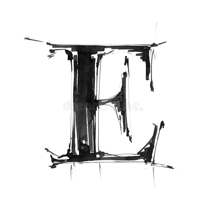 Símbolo del alfabeto - letra E ilustración del vector