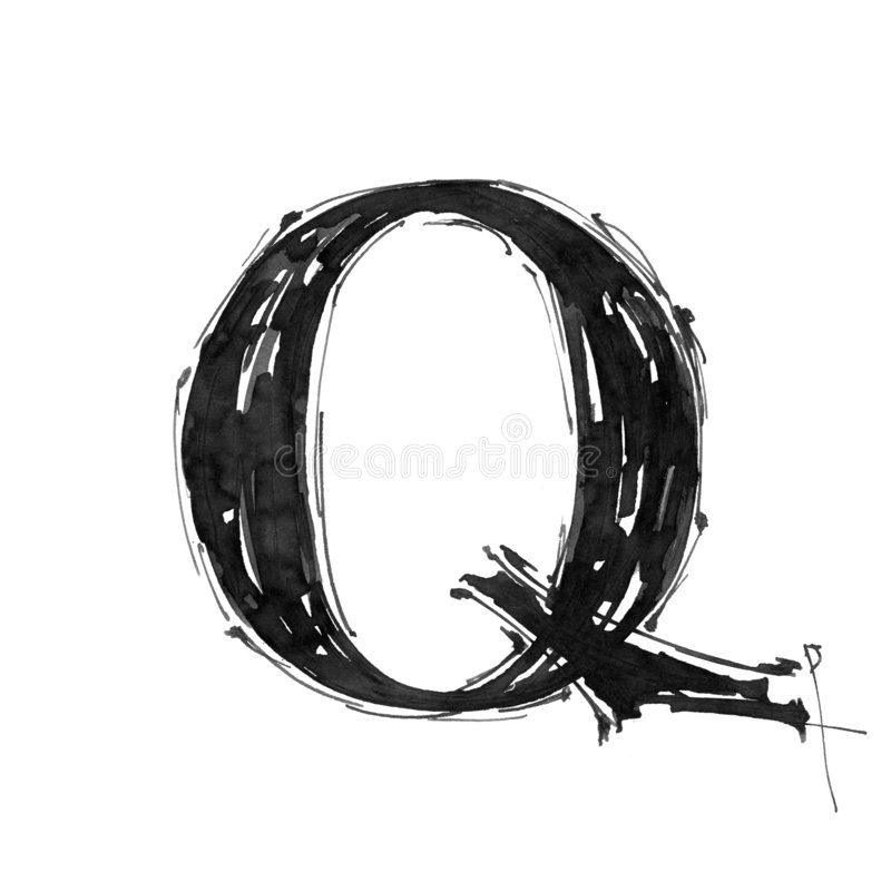Símbolo del alfabeto - letra Q ilustración del vector