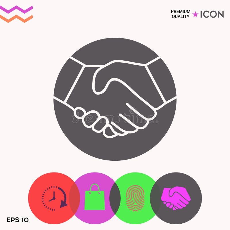 Símbolo del apretón de manos en círculo icono libre illustration