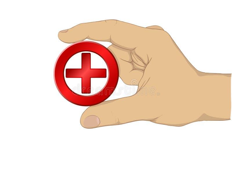 Símbolo del asimiento de la mano de la cruz del médico ilustración del vector