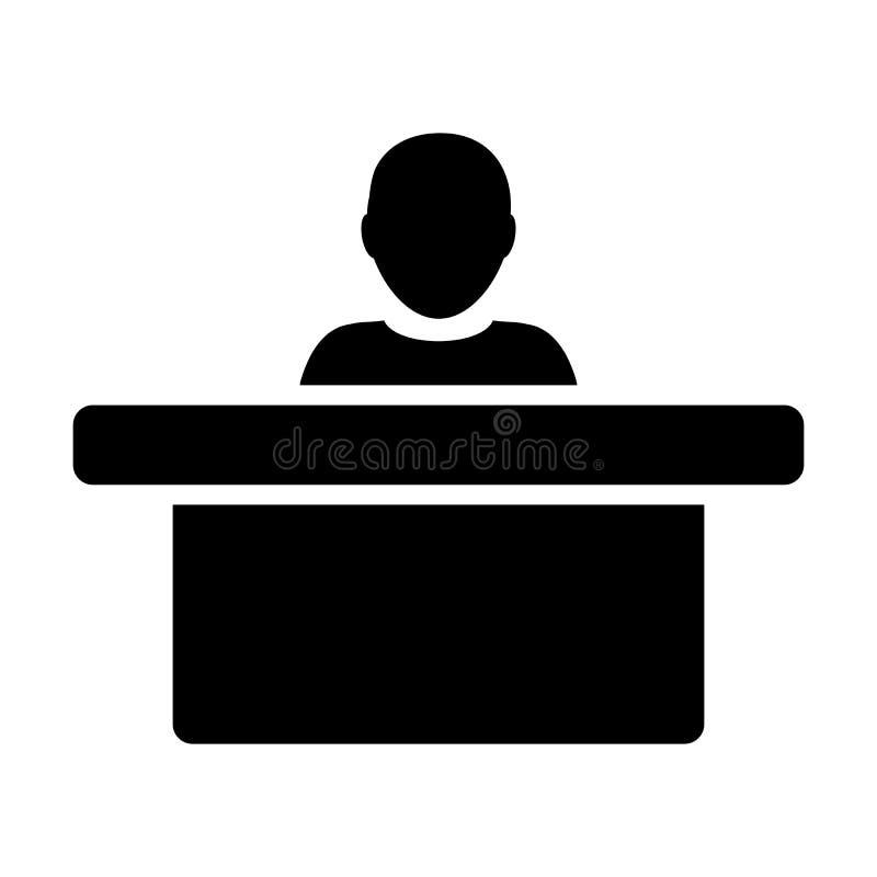 Símbolo del avatar de la persona masculina del vector del icono del director con la tabla para el trabajo de oficina en pictogram ilustración del vector