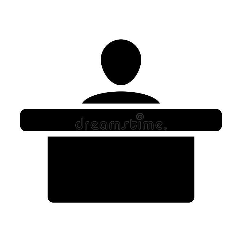 Símbolo del avatar de la persona masculina del vector del icono del personal con la tabla para el trabajo de oficina en pictogram libre illustration