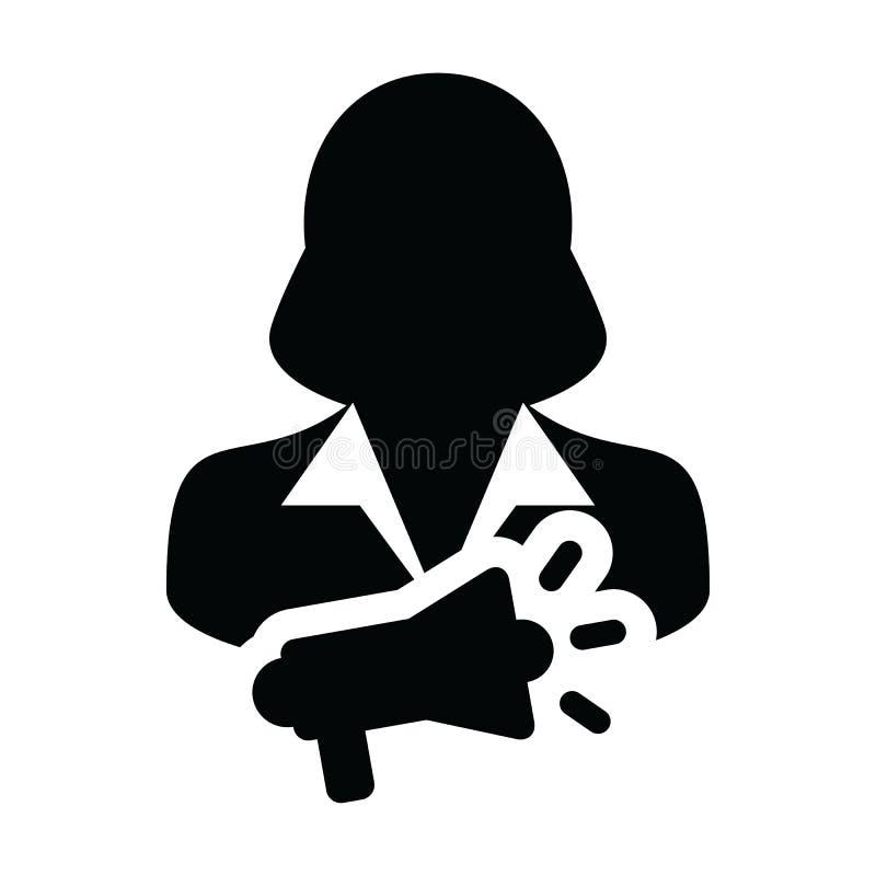 Símbolo del avatar del perfil de la persona femenina del vector del icono de la promoción con el megáfono para la campaña publici libre illustration