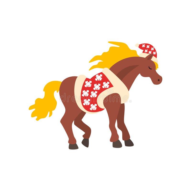 Símbolo del caballo del Año Nuevo, animal lindo del horóscopo chino en el ejemplo del vector del traje de Santa Claus en un blanc ilustración del vector