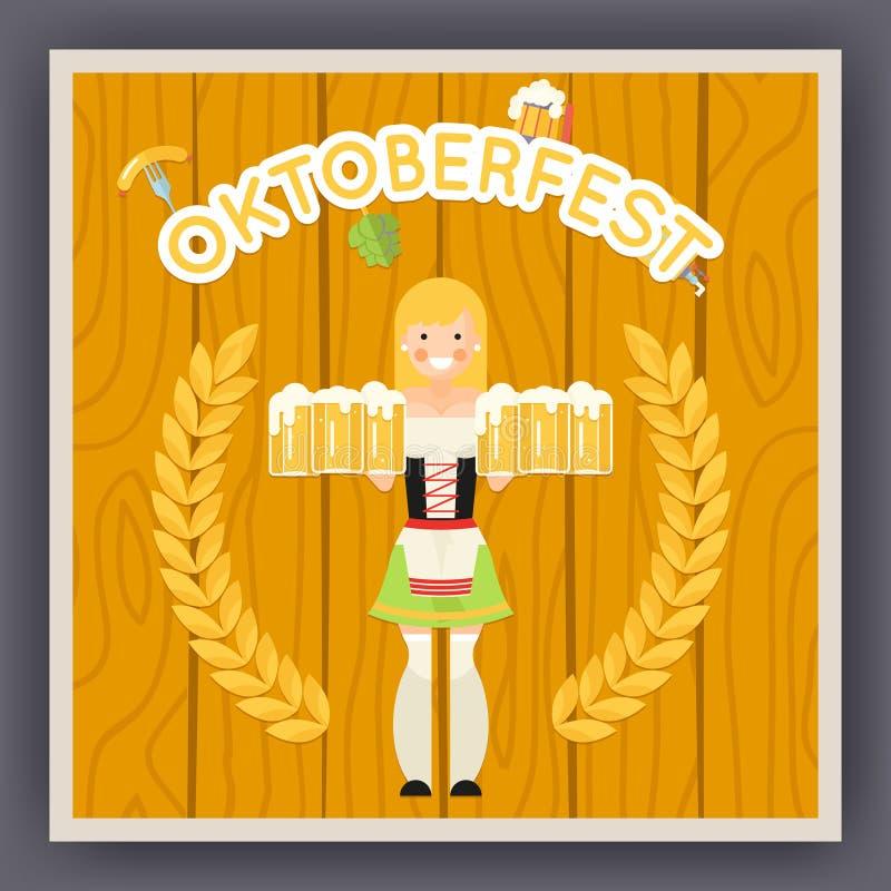 Símbolo del cartel de la celebración del festival de Oktoberfest ilustración del vector
