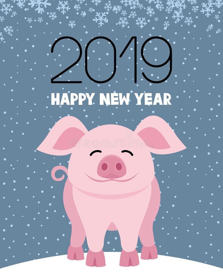 Símbolo del cerdo del Año Nuevo ilustración del vector