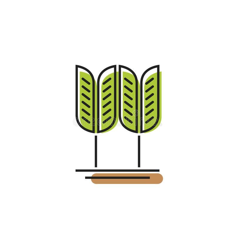 Símbolo del cereal, logotipo verde del vector del grano del trigo, punto de la panadería libre illustration