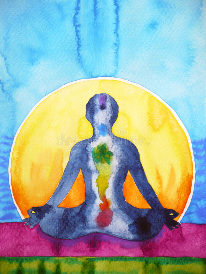 Símbolo del chakra de la yoga de la actitud de Lotus, pintura de la acuarela de la terapia del reiki libre illustration