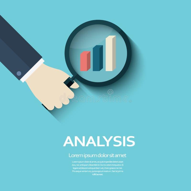 Símbolo del concepto del análisis de negocio con la mano que sostiene la lupa y que mira la muestra del gráfico ilustración del vector