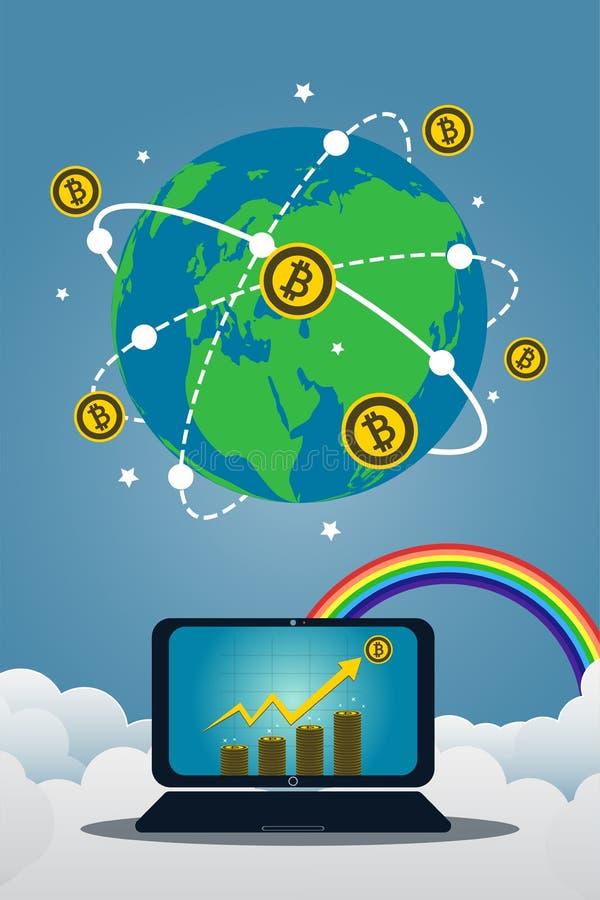 Símbolo del concepto del ordenador portátil del negocio en pantalla El icono del oro de Bitcoin para la carta del rowth en moneda libre illustration