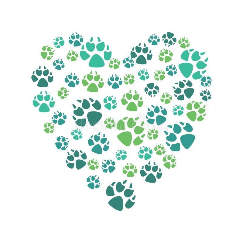 Símbolo del corazón de impresiones de color de un animal de la pata de los perros, nacional o salvaje en un estilo plano ilustración del vector