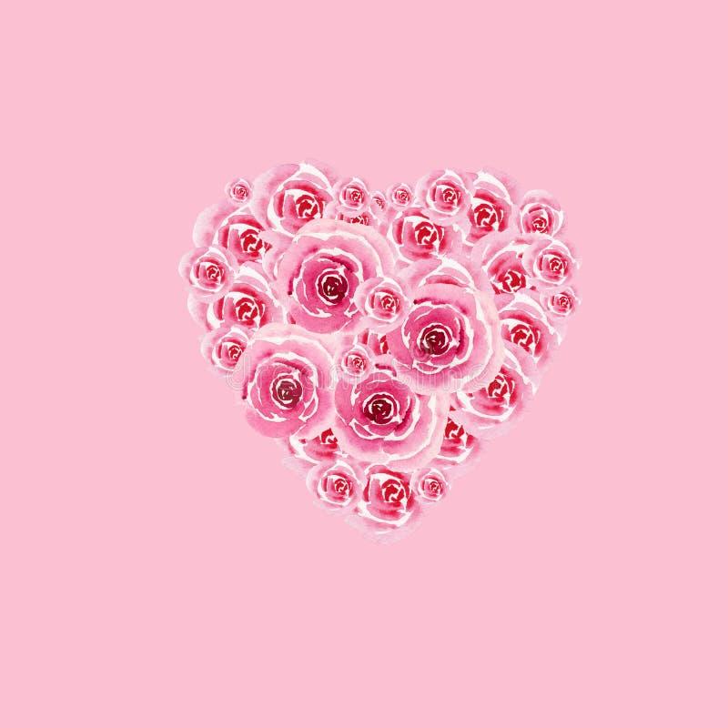 Símbolo del corazón de las flores de la acuarela de las rosas aisladas en fondo rosado Corazón verde estilizado de la ilustración stock de ilustración
