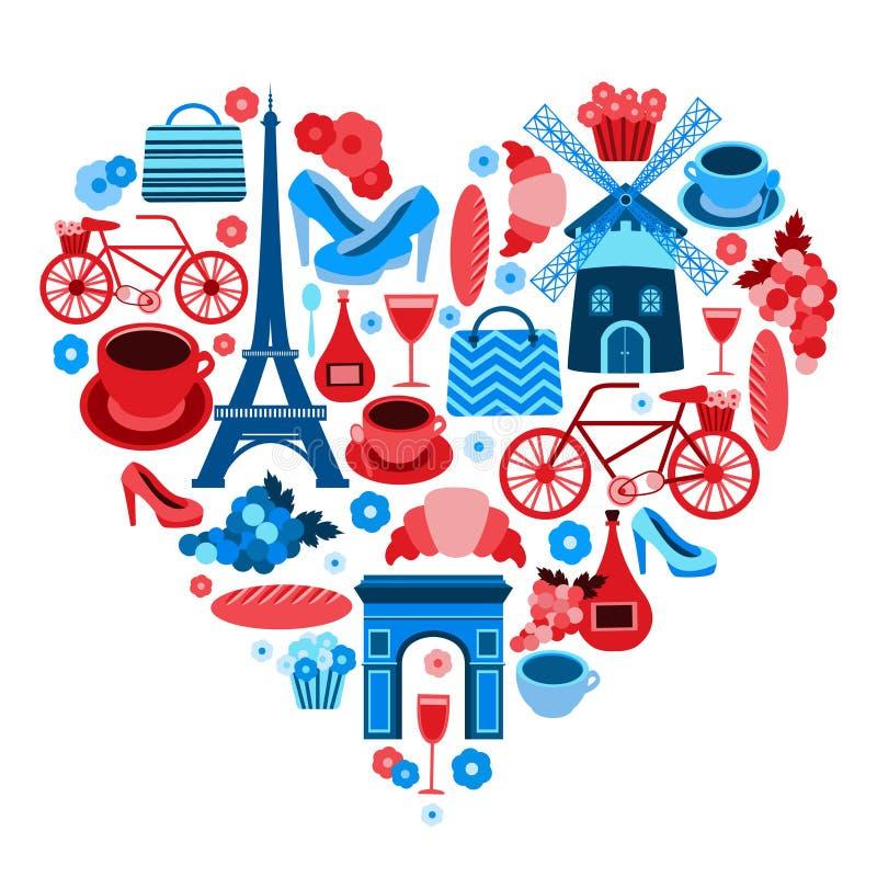 Símbolo del corazón de París del amor ilustración del vector