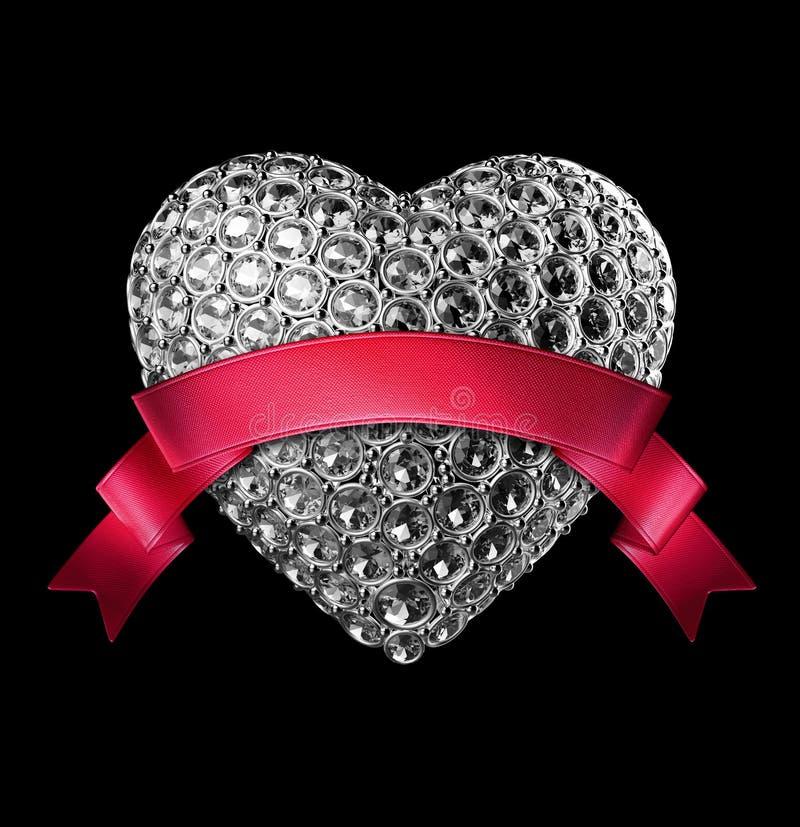símbolo del corazón del diamante de la plata 3d con los cristales ilustración del vector