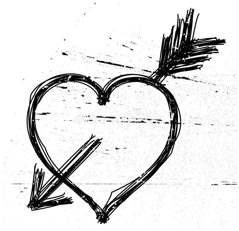 Símbolo del corazón en grunge. stock de ilustración
