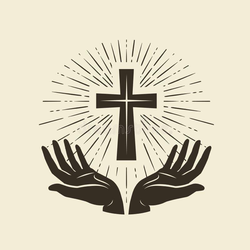 Símbolo del cristianismo de Jesus Christ Cross, logotipo de la adoración Ejemplo del vector del vintage libre illustration
