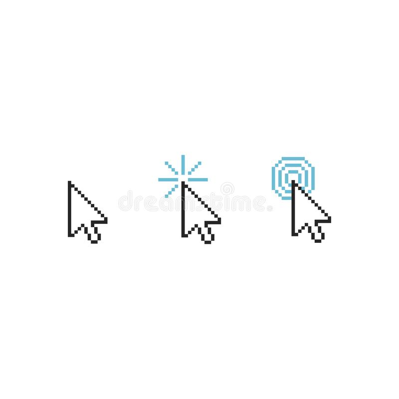 Símbolo del cursor del ratón - el ejemplo del indicador del tecleo de la flecha aisló ilustración del vector