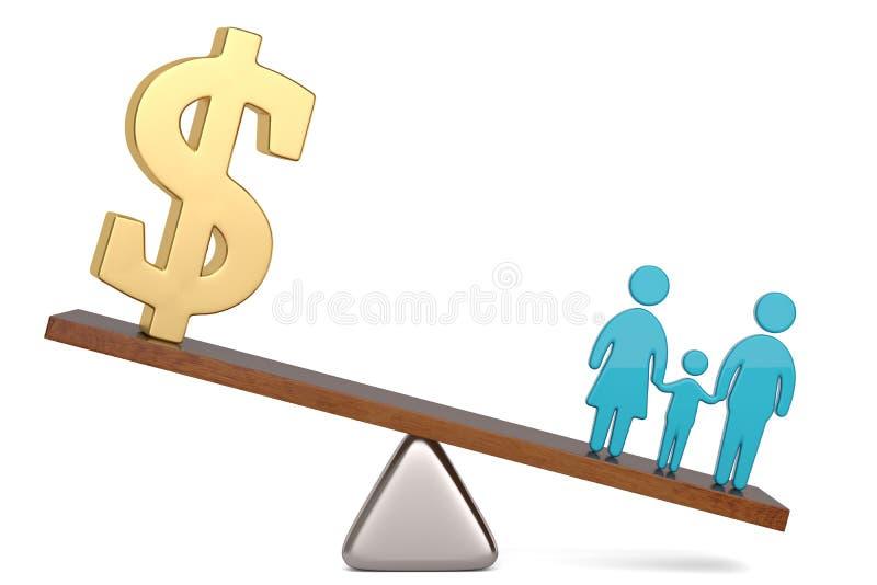 Símbolo del dólar americano y símbolo de la familia en balanza sobre el ejemplo blanco del fondo 3D libre illustration