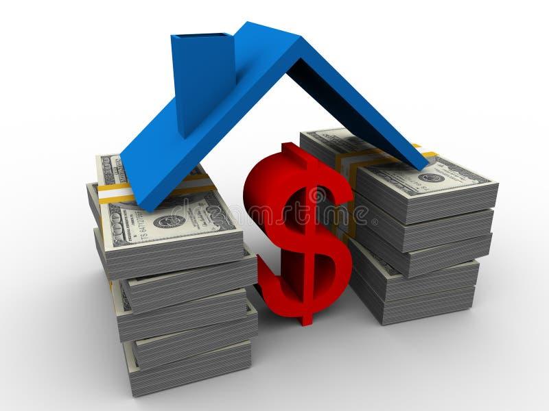 Símbolo del dólar bajo la azotea ilustración del vector