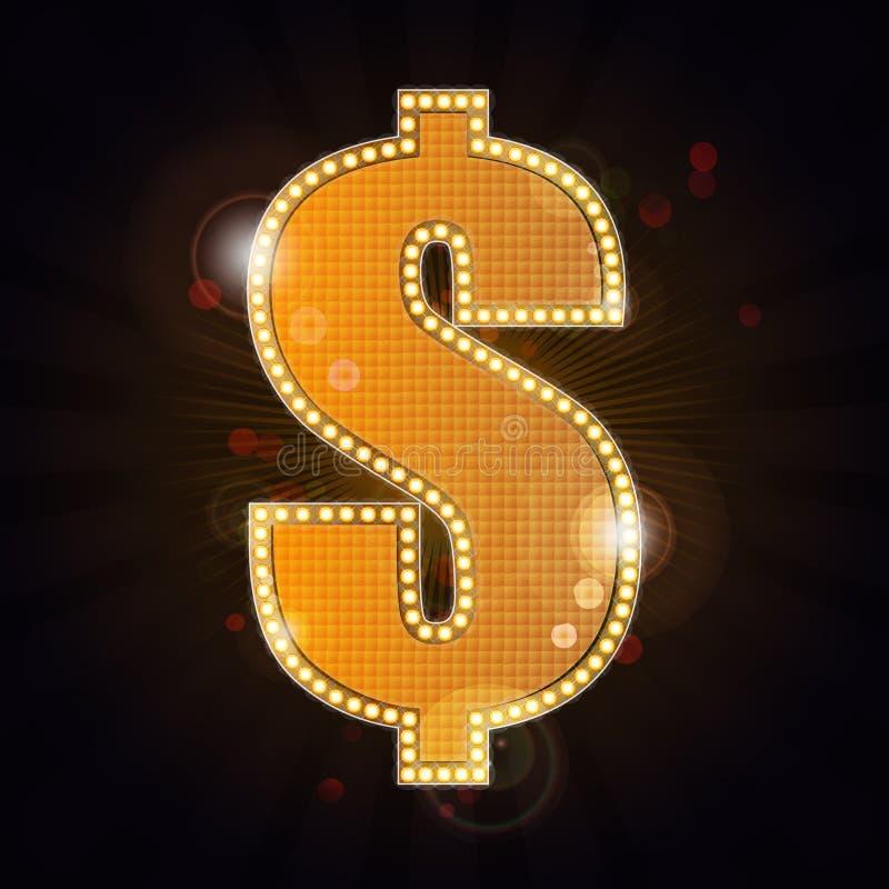 Símbolo del dólar de Glamor ilustración del vector