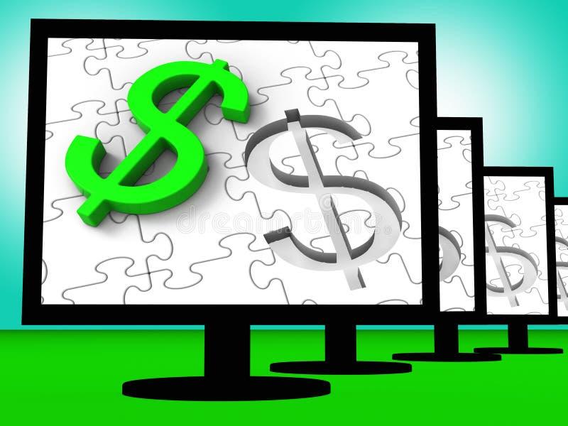 Símbolo del dólar en los monitores que muestran finanzas del americano stock de ilustración