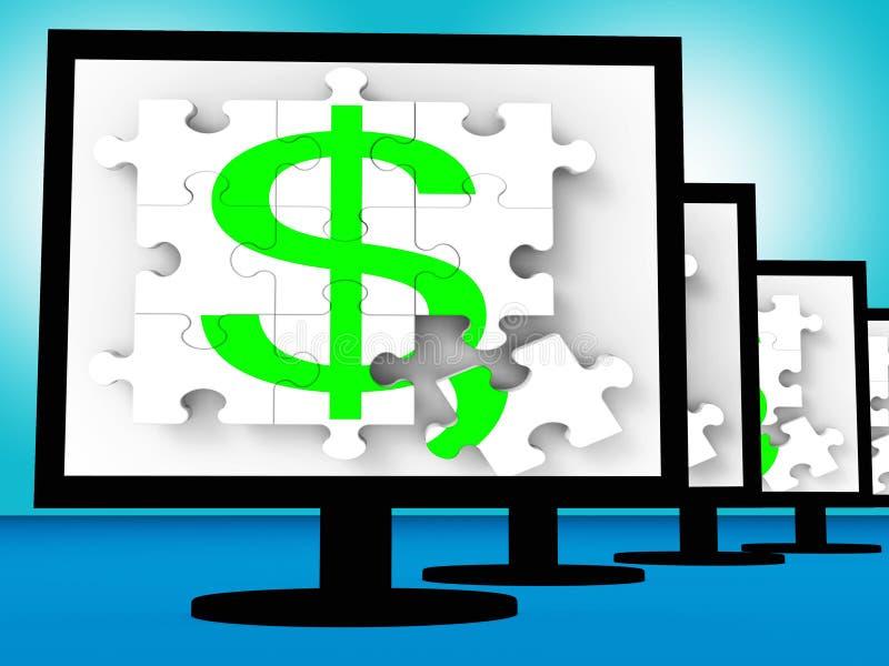 Símbolo del dólar en moneda del americano de las demostraciones de los monitores stock de ilustración