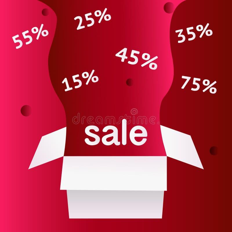 Símbolo del descuento de la venta de la oferta especial con las etiquetas abiertas del regalo y del flujo aisladas en fondo rojo  ilustración del vector