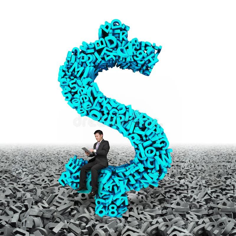 Símbolo del dinero de la muestra de dólar del hombre de negocios que se sienta, datos grandes de los caracteres 3d foto de archivo
