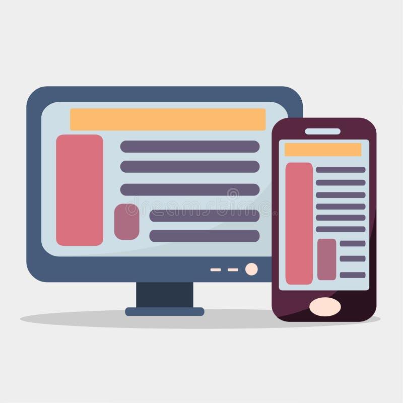Símbolo del ejemplo del vector del concepto de la sincronización de la web de la PC y del smartphone ilustración del vector