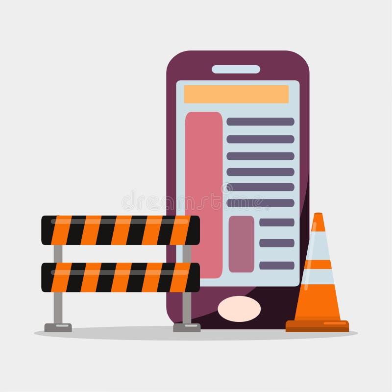 Símbolo del ejemplo del vector del concepto del desarrollo de aplicación móvil stock de ilustración
