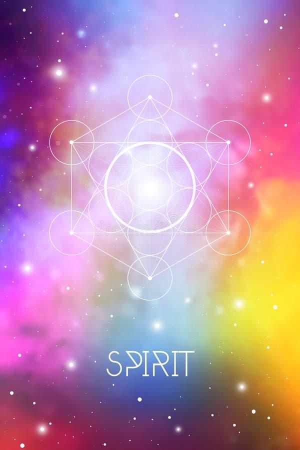 Símbolo del elemento del alcohol dentro del cubo de Metatron y de la flor de la vida delante del fondo cósmico del espacio exteri ilustración del vector