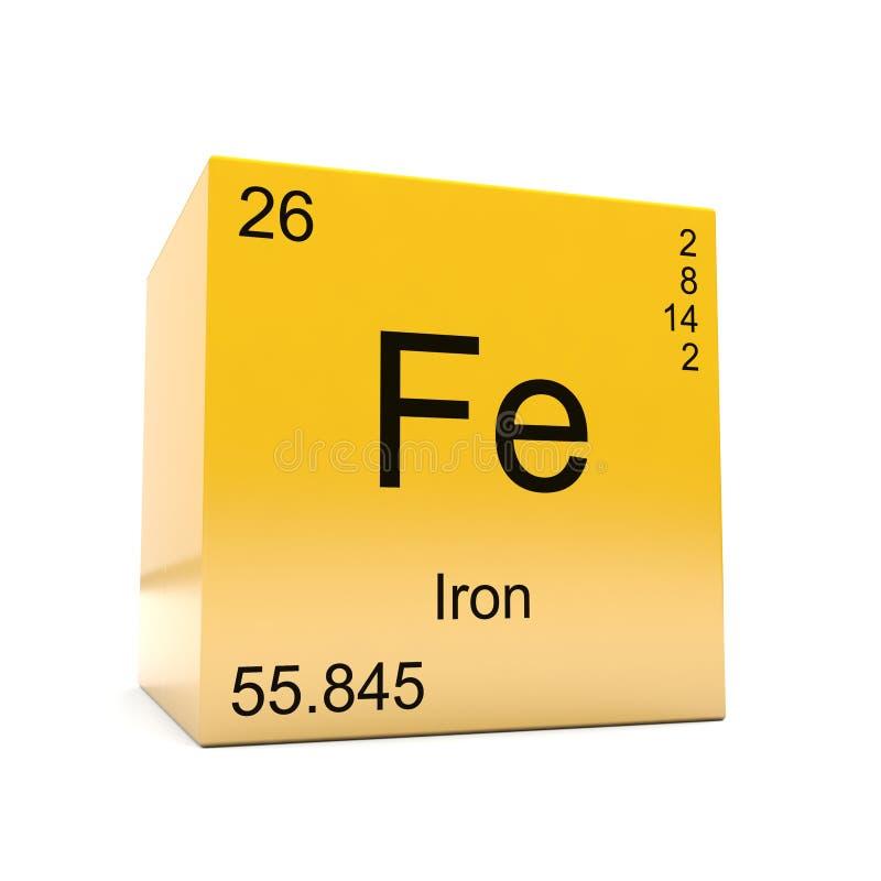 Símbolo del elemento químico del hierro de la tabla periódica ilustración del vector