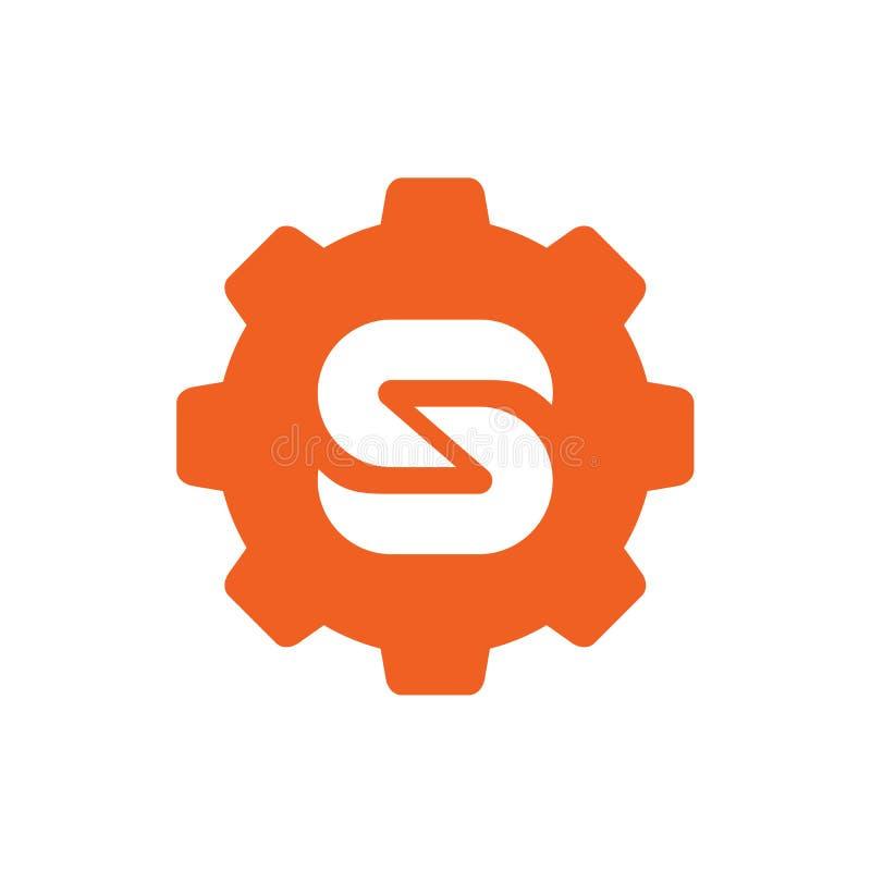 Símbolo del engranaje combinado con la letra S, logotipo del vector, diseño del icono ilustración del vector