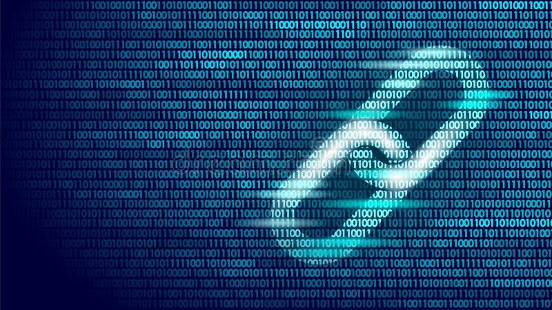 Símbolo del enlace hipertexto de Blockchain en la información grande del flujo de datos del número de código binario Concepto del stock de ilustración