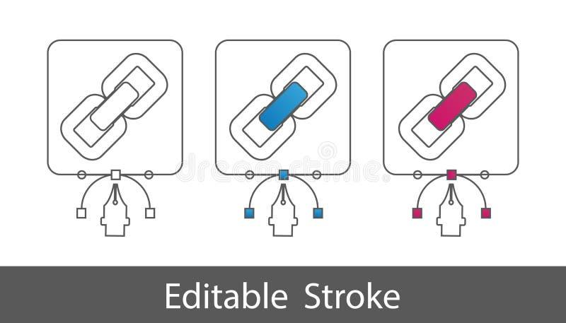 Símbolo del enlace hipertexto del vínculo - esquema diseñó el icono - movimiento Editable - ejemplo del vector - aislado en el fo stock de ilustración