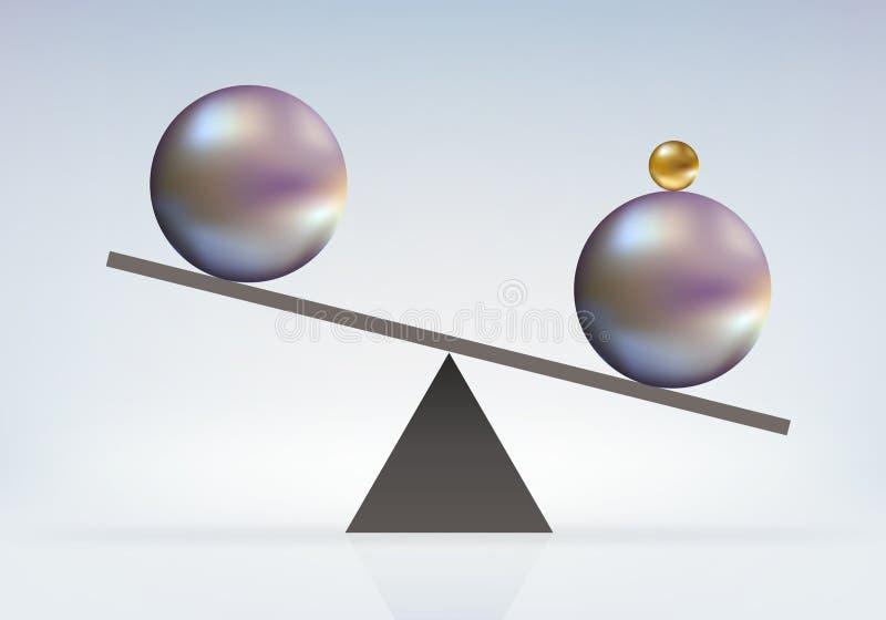 Símbolo del equilibrio de fuerzas donde la ventaja es obtenida por la contribución de una fuerza adicional ilustración del vector