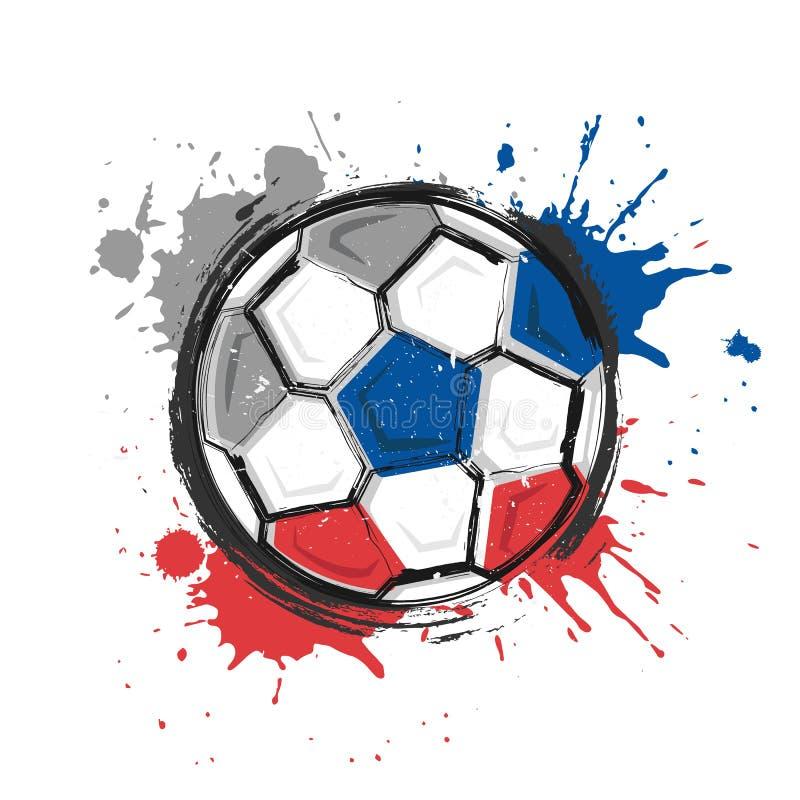Símbolo del equipo de fútbol de Rusia Pintura realista del arte de la acuarela con color manchado del chapoteo Diseño plano Vecto stock de ilustración