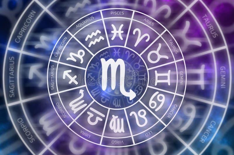 Símbolo del escorpión del zodiaco dentro del círculo del horóscopo stock de ilustración