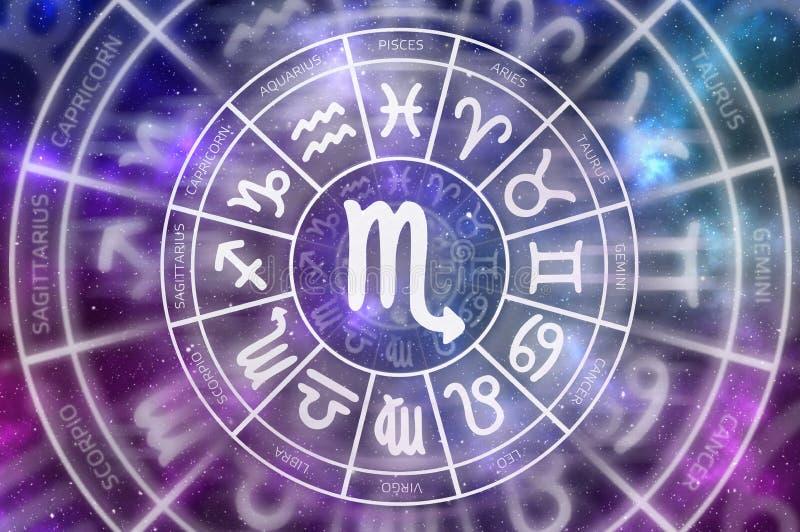 Símbolo del escorpión del zodiaco dentro del círculo del horóscopo foto de archivo libre de regalías