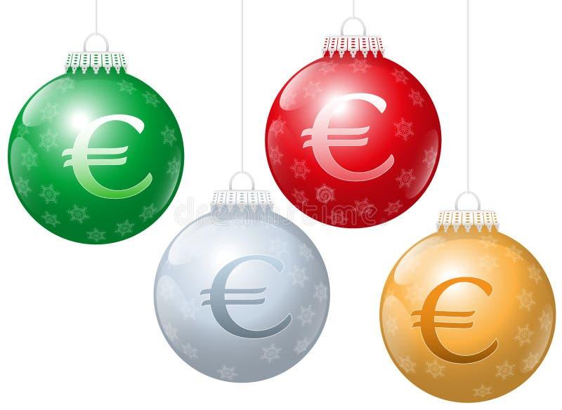 Símbolo del euro de las bolas de la Navidad ilustración del vector