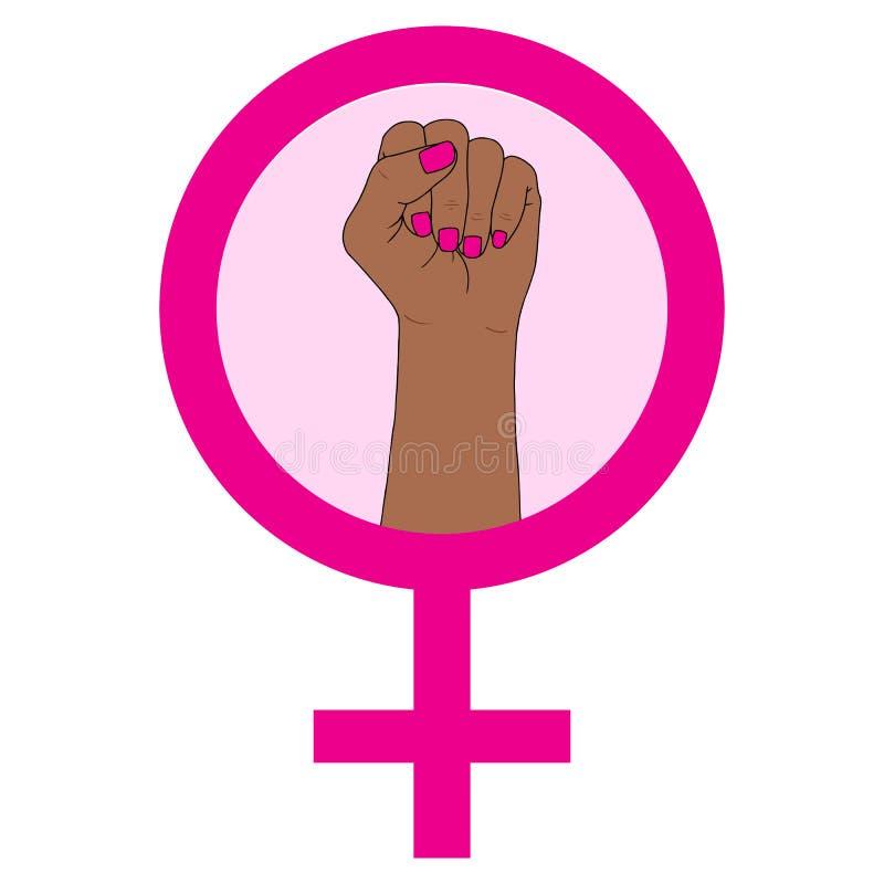 Símbolo del feminismo Puño que lucha de una mujer libre illustration