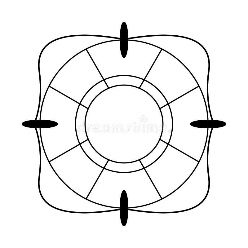 Símbolo del flotador de la salvación aislado en blanco y negro ilustración del vector