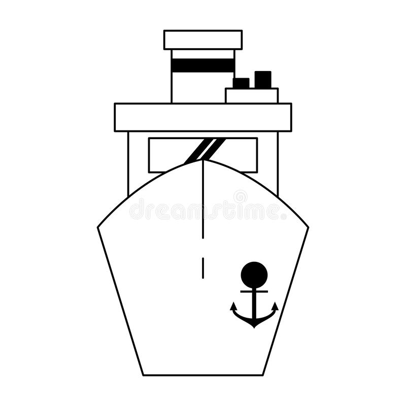 Símbolo del frontview del barco de la nave del carguero blanco y negro stock de ilustración