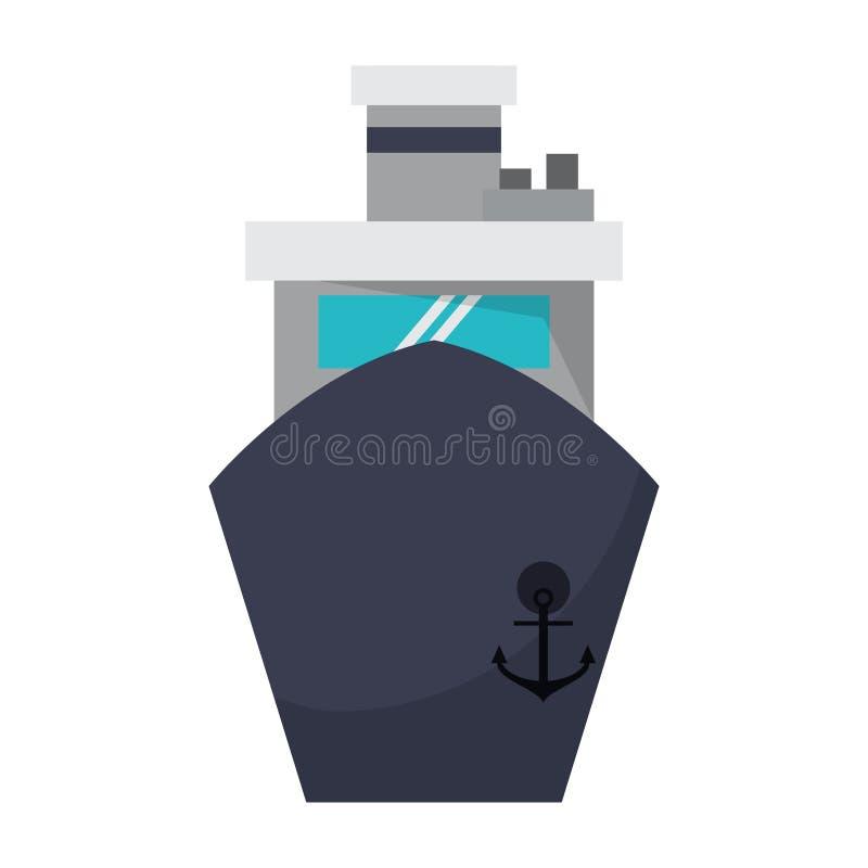 Símbolo del frontview del barco de la nave del carguero libre illustration