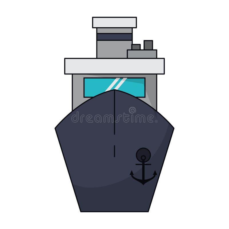 Símbolo del frontview del barco de la nave del carguero stock de ilustración
