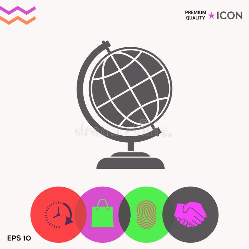 Símbolo del globo - icono de la tierra stock de ilustración