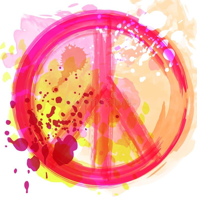 Símbolo del hippie de la paz sobre fondo colorido Libertad, espiritualidad, ocultismo, arte de las materias textiles Ejemplo del  libre illustration